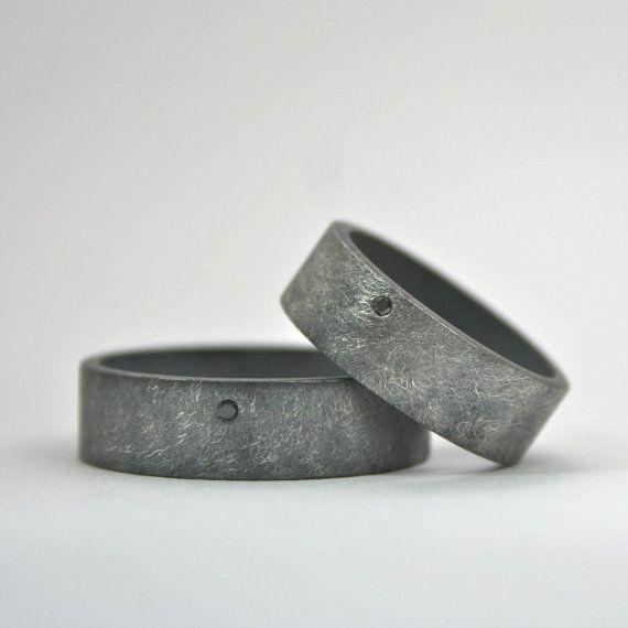 Passende Ringe - Eheringe Set - Black Diamond 925er Silber Ring Set - passende Eheringe - breites Band Sterling geschwärzt