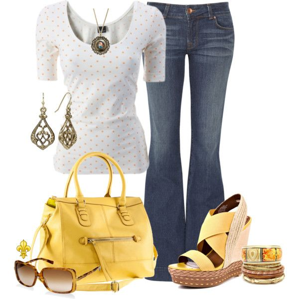 Yellow Accents, created by hatsgaloore on Polyvore: Simple Outfit, Polyvore Shoppingspr, Yellow Bags, Yellow Handbags Outfit, Cute Outfit, Yellow Polyvore Outfit, Polyvore Shops Spre, Yellow Accessories, Yellow Accents