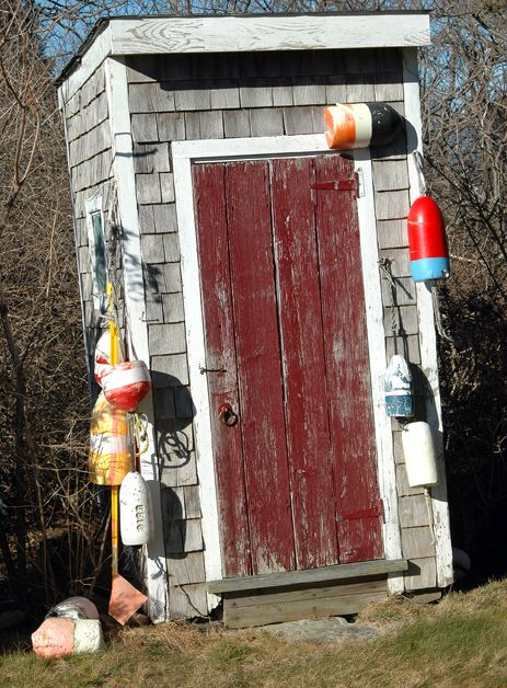 """Beach Farmgirl >> Cottage Fever  (Cape Cod Bay)  -  Many residents still use outhouses (or keepers). This one is about as """"beach rustique"""" as they come!"""