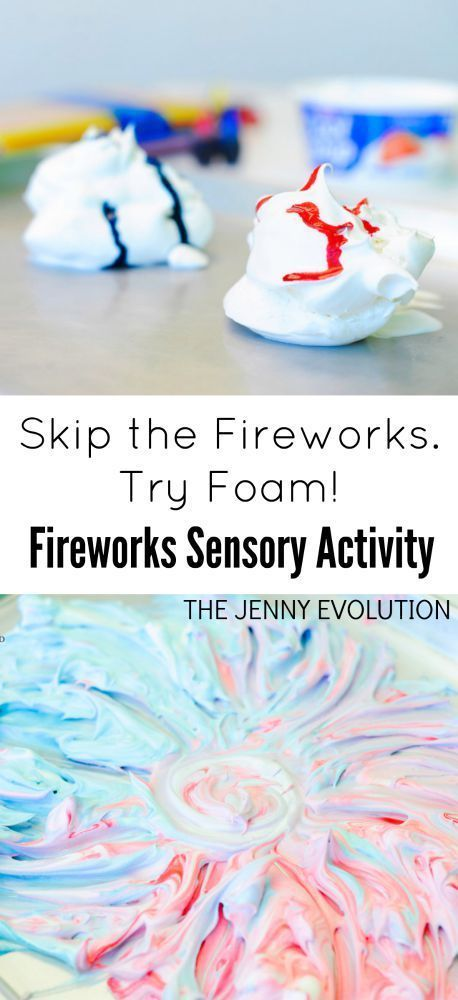 Patriotic Foam Sensory Activity – A Fireworks Alternative
