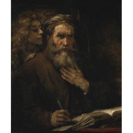 Saint Matthew AND THE Angel 1661 Rembrandt Harmensz van Rijn 1606 d1669 Dutch Musee du Louvre Paris Canvas Art - Rembrandt Harmensz van Rijn (18 x 24)