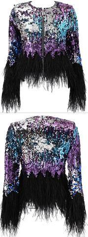 Feather-Trimmed Sequin-Embellished Jacket