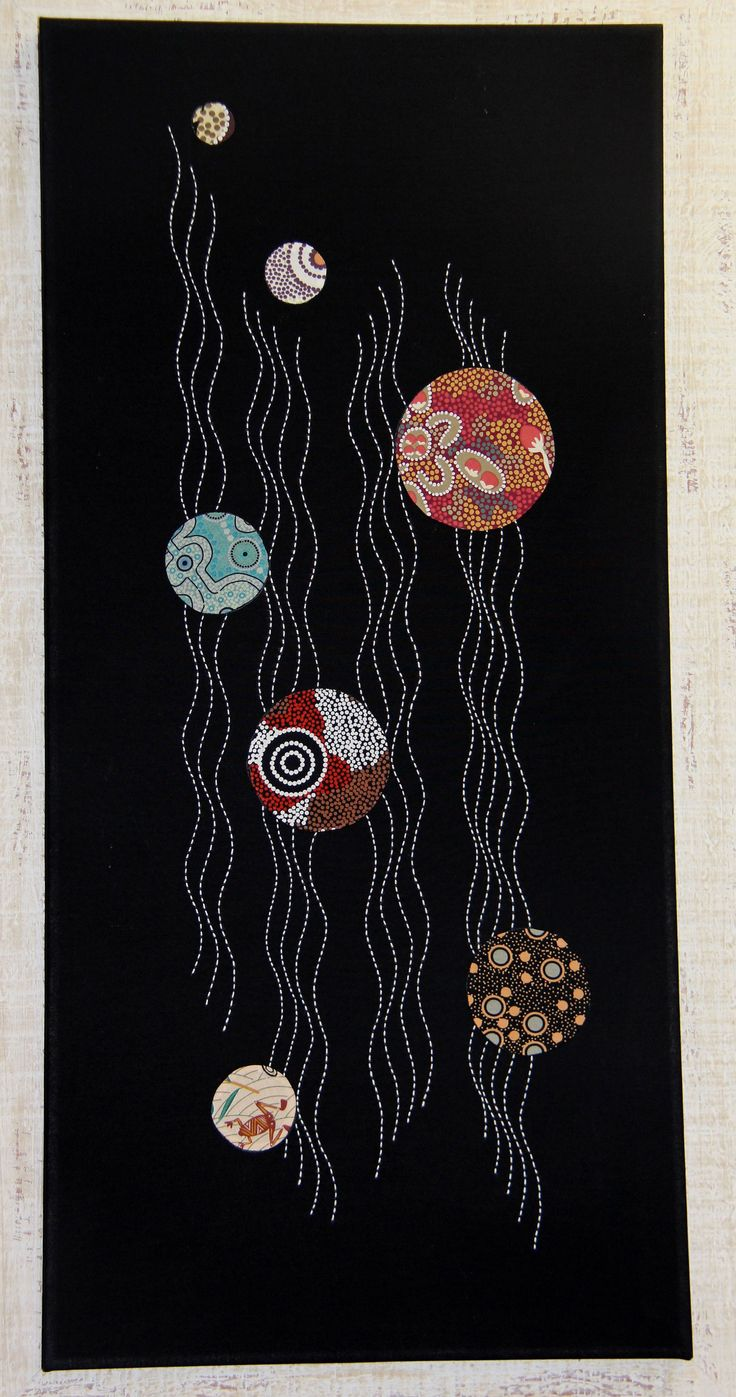 Threaded Pathways #2, designed by Suzanne Howie, from a series of four panels. Contemporary Sashiko and Applique wall hanging that draws on an Indigenous theme. indigoniche.com