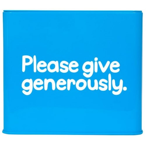 Please Give Generously Money Box Tin from Sarah J Home Decor. $13.95
