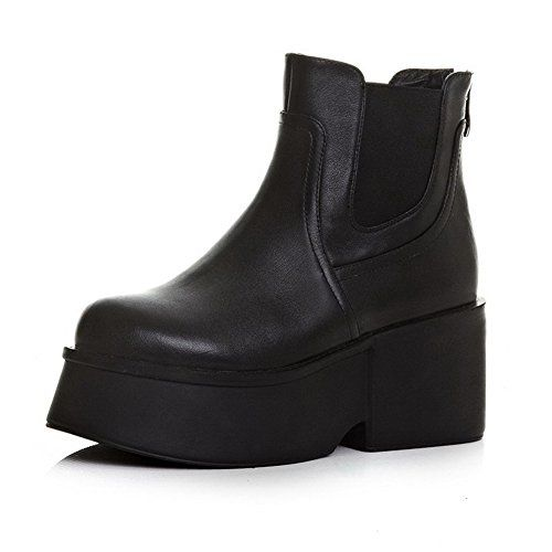AmoonyFashion Womens RoundToe ClosedToe HighHeels Boots with Rubber Bottom and Back Zipper Black 38 *** Visit the image link more details.
