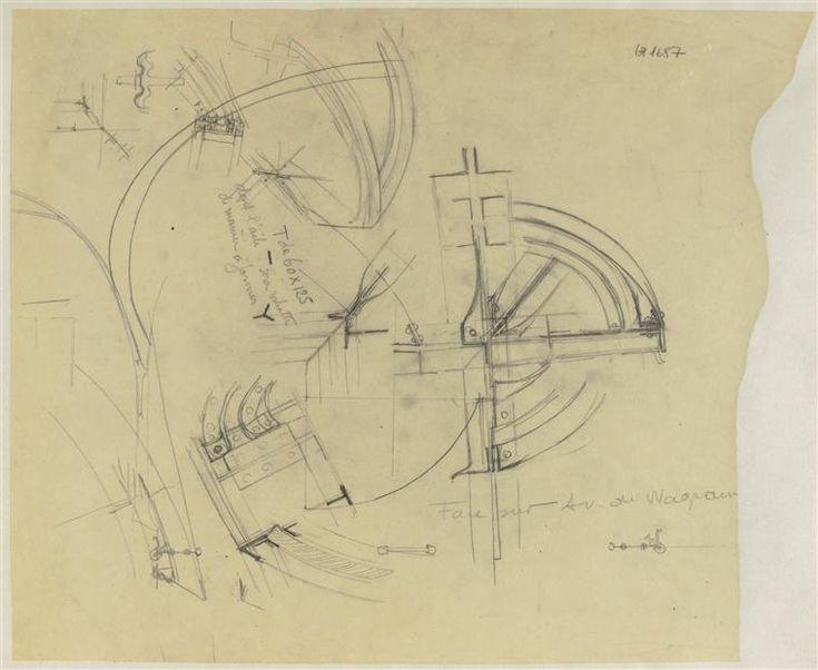 Guimard Hector (1867-1942): Métropolitain : Wagram-Mac-Mahon, croquis de fers  Paris, musée d'Orsay