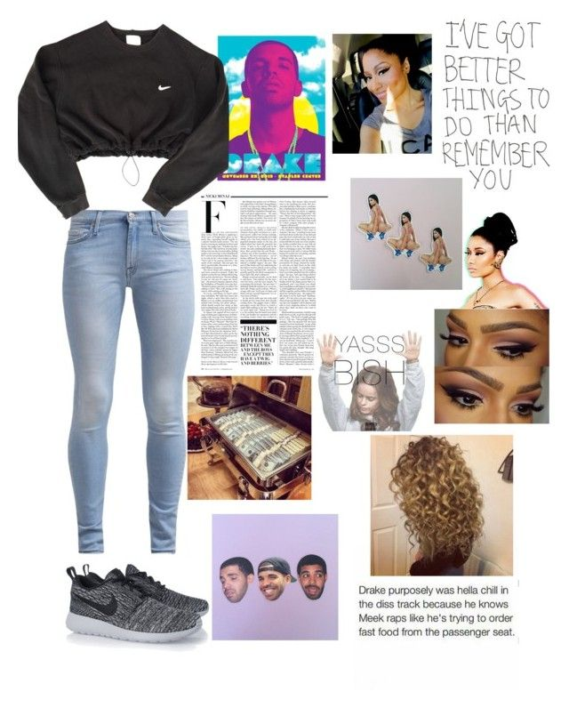 """""""Drake, Nicki,  and making money"""" by stacia2414 ❤ liked on Polyvore featuring Drakes London, 7 For All Mankind, NIKE and Nicki Minaj"""