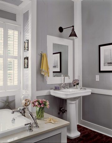 grey bathroom: Wall Color, White Trim, Bathroom Idea, White Bathroom, Paintings Color, Gray Paintings, Grey Bathroom, Gray Wall, Gray Bathroom