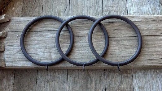 Sold By Pack of 3  Solid Iron Rings, Extra Large Size thick Rustic Iron Rings, To be used as Swags or for curtains or Draperies, for 3 Wood Pole or Iron Rod Ring.  Beautiful Hand Painted Rustic Iron Rings / Special Project rings To be used with curtains or Draperies the rings are made