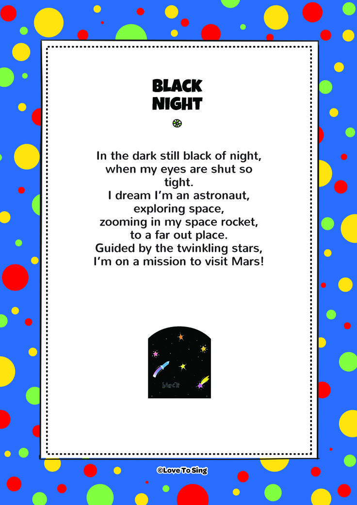 Black Space. Download FREE fun curriculum learning activities and FREE song lyrics from our website. Watch FREE videos! http://www.childrenlovetosing.com/kids-song/black-space/ #education #colorsongs