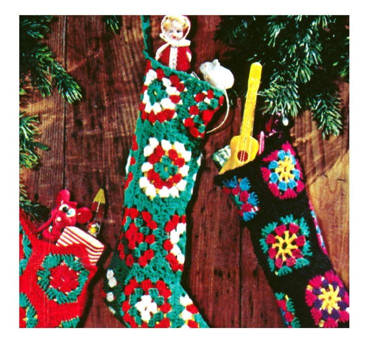 Vintage Crochet Pattern Christmas Stocking Granny Squares Pattern    Vintage Christmas Pattern