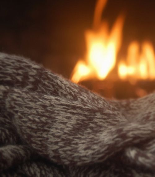 A warm blanket and sitting by thefireplace, just the thing to warm you up on those cold winter days!