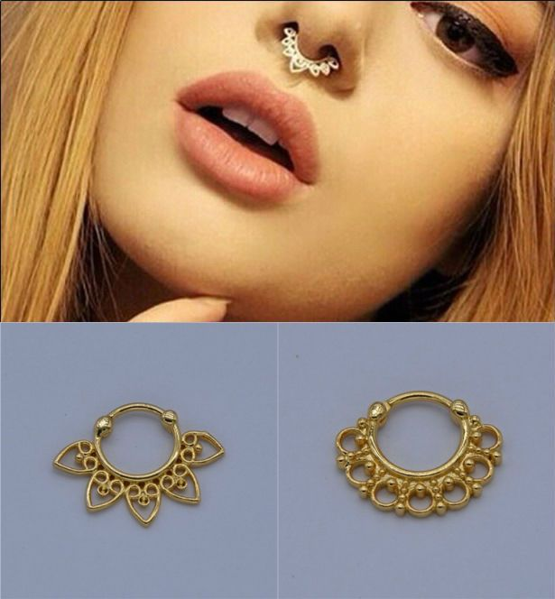 Hochwertige vergoldete gefälschte septum ring g23 titanium pol septo piercing nez schmuck