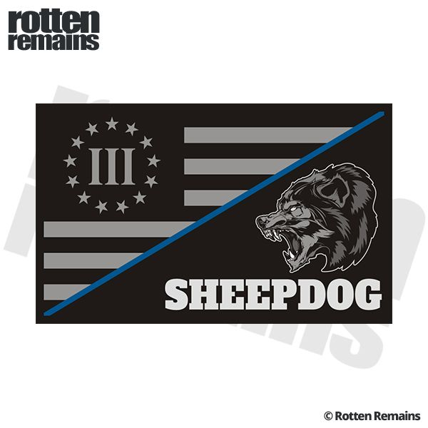 3 Percenter Subdued Nyberg Flag Sheepdog Thin Blue Line Police Sticker Decal