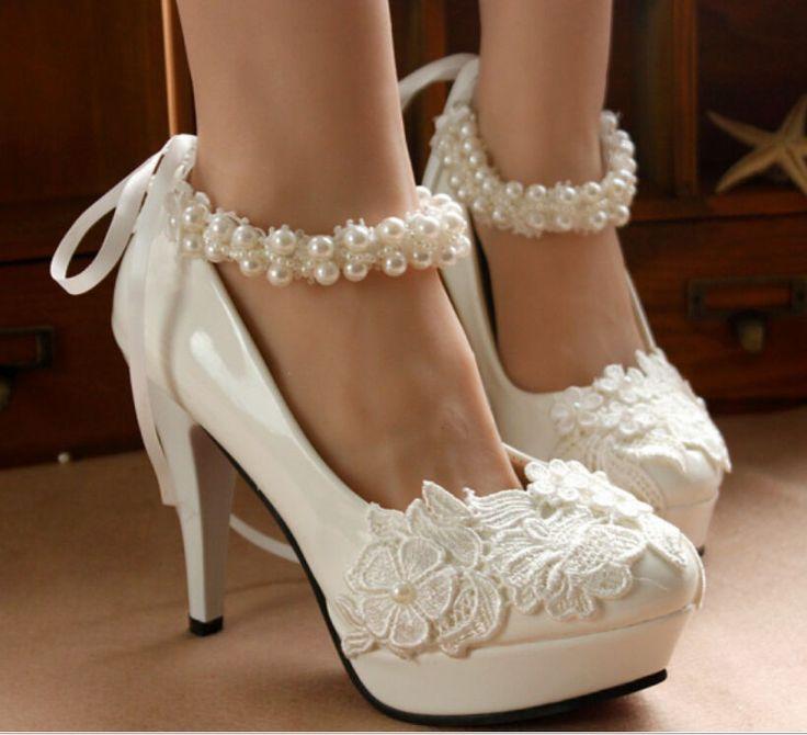 Heart Pearl White Lace Floral Bridal Wedding LUSB High Heel Flat Platform Bead