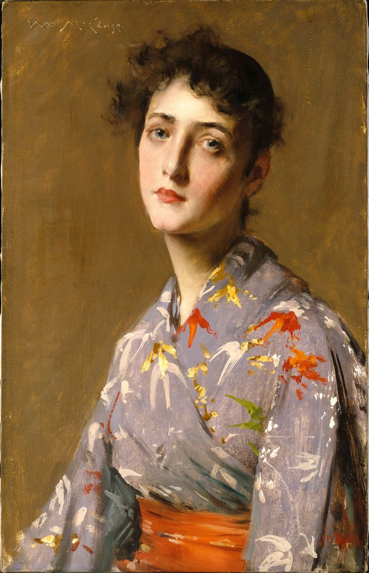 """'Girl in a Japanese Costume' (1890) by American painter William Merritt Chase (1849-1916). oil on canvas. 24 5/8 x 15 11/16."""" via Brooklyn Museum, NY"""