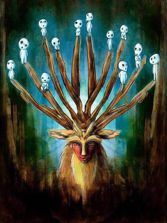 Princess Mononoke Deer God Digital Painting  by barrettbiggers, $25.00