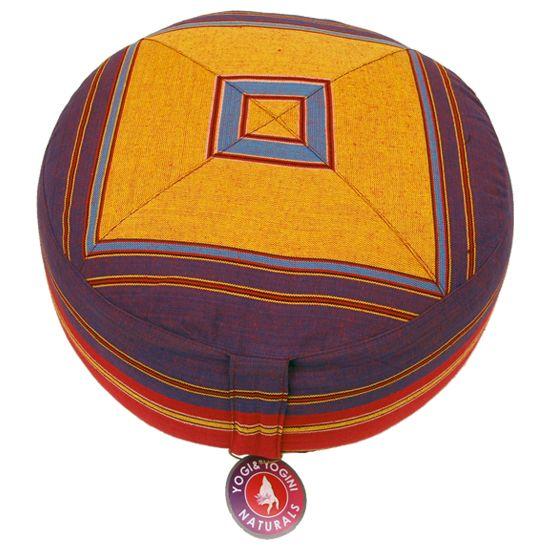 Meditatiekussen paars/oranje patroon multi - 33x17 cm -