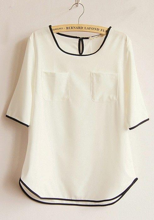 White Color Block Short Sleeve Linen Blend Blouse: