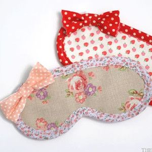 Pretty in Pink Sleeping Mask | AllFreeSewing.com - probably the cutest sleep mask sewing pattern i've seen yet