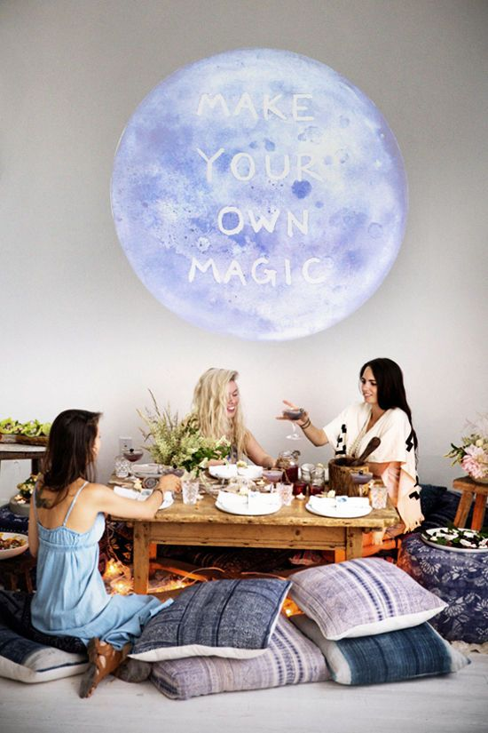 moon dinner party with a projection | designlovefest