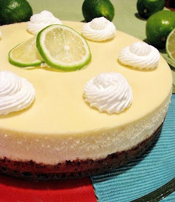 Top-Shelf Margarita Cheesecake- the writer makes it a lot more complicated than it should be, but the ingredients are right.