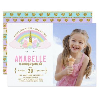 Rainbow Glitter Unicorn Photo Birthday Invitation - girl gifts special unique diy gift idea