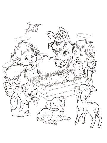Cena do nascimento com anjos fofos e animais Página para colorir