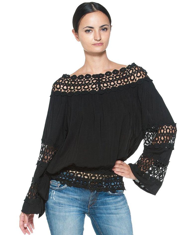 Alibaba グループ | AliExpress.comの ブラウス & シャツ からの     ファッションの女性のレースのパッチワークのスラッシュネックサイドストラップシフォンブラウストップス 真新しい100%材料: レースファブリックタイプ: シフォン2色: 黒、 中の 2016 ヴィ ンテ ージ スタイル ロング スリーブ レース パッチワーク シフォン かぎ針編み の ブラウス シャツ女性ファッション blusa シャツ