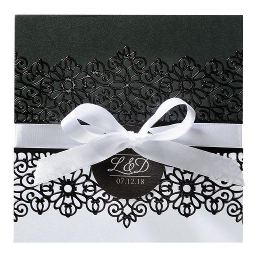 Faire part mariage Belarto  Arabesque noir & blanc avec satin blanc
