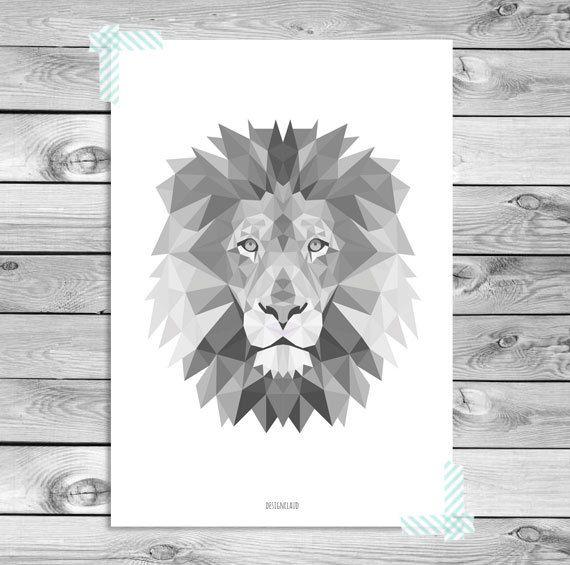 Printable Art Poster Print - Zwart Wit Grijs Leeuw Illustratie Geometrisch Dieren Kinderkamer Woonkamer Interieur Wanddecoratie