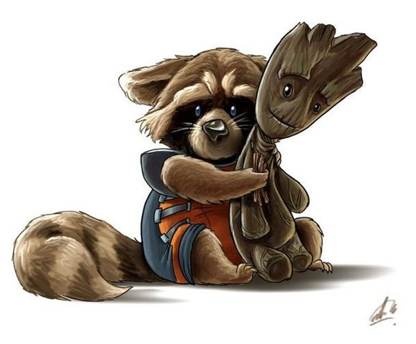 Awesome Fan Art Of Rocket & Groot From 'Guardians Of The Galaxy' - DesignTAXI.com