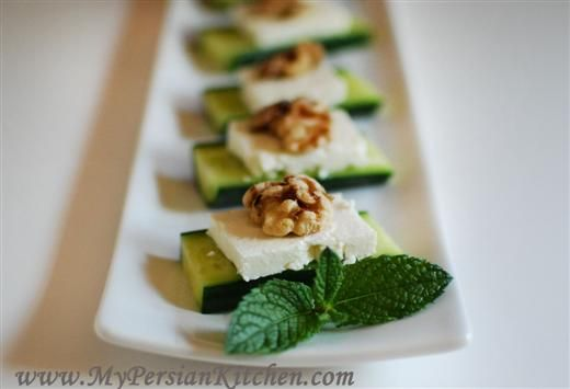 Cucumber, Feta and Walnut appetizer