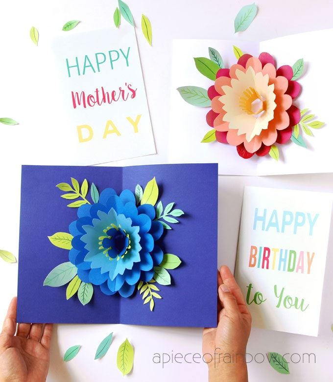 Pop Up Flowers Diy Printable Mother S Day Card Diy Happy
