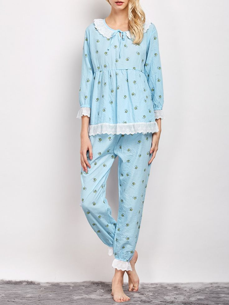 Printed Smock Top and Pants Pajama - LIGHT BLUE L
