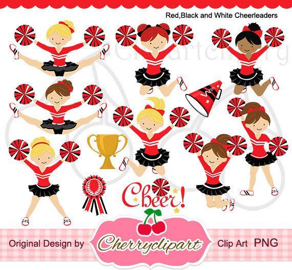 Rot schwarz und weiß-Cheerleader Set für von Cherryclipart auf Etsy