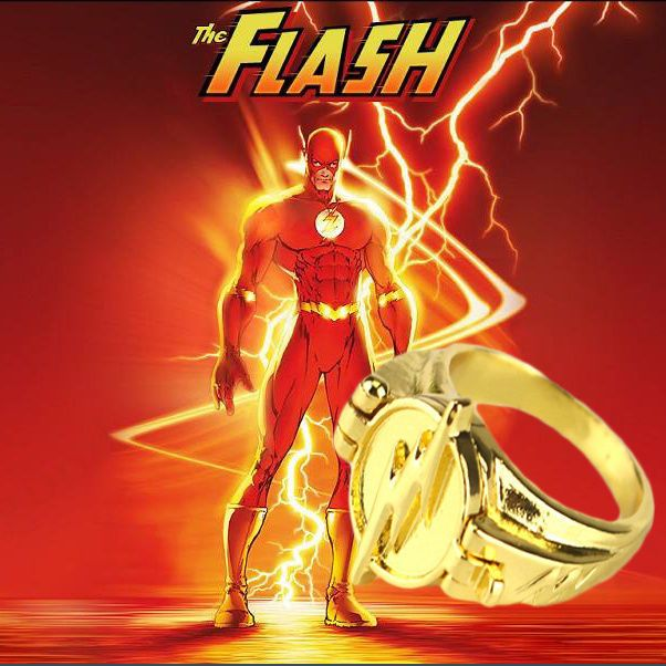 Dc Comics The Flash Open Cover Lightning Logo Superhero Cosplay Ring