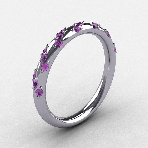 French Bridal 10K White Gold Lilac Amethyst Wedding by artmasters, $649.00