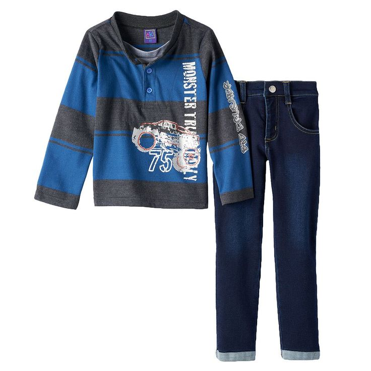 """Only Kids Apparel """"Monster Truck Rally"""" Rugby Henley & Jeans Set - Toddler Boy, Size: 3T, Blue"""