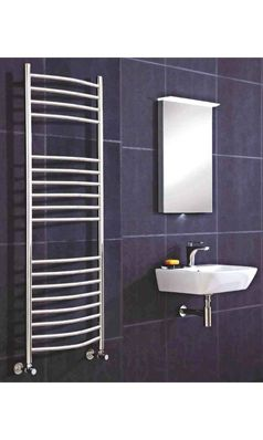 Phoenix Thame Curved Electric Bathroom Heated Towel Rail Radiator - Stainless Steel