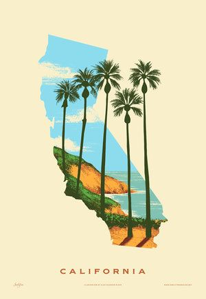 Great collectable for each state you've visited, or called home. California State Print - Best Coast