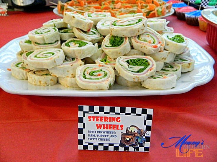 """STEERING WHEELS"" - DELI PINWHEELS -- Mommy's Modern Life: How-To: Car-Themed Birthday Party on a Budget"
