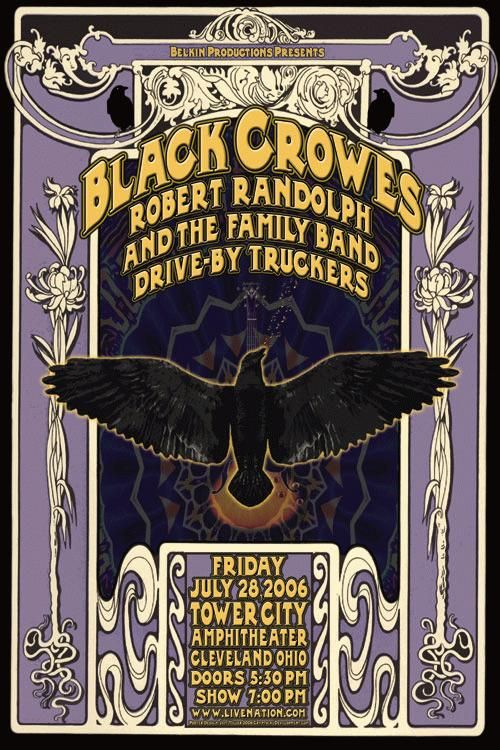 Original concert poster for Black Crowes / Drive-By Truckers / Robert Randolph at the Tower City Amphitheater in Cleveland, Ohio. 12x19 on card stock. Art by Jeff Miller.