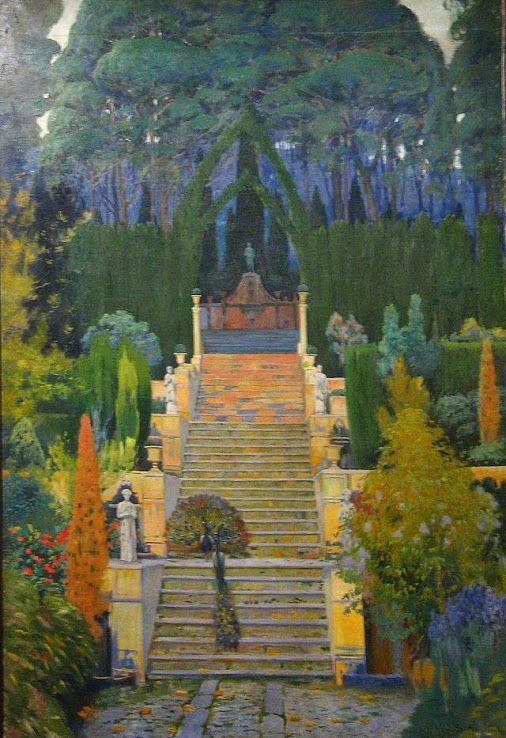 JARDÍN SEÑORIAL EN PALMA DE MALLORCA, 1912. Santiago Rusiñol (1861-1931).