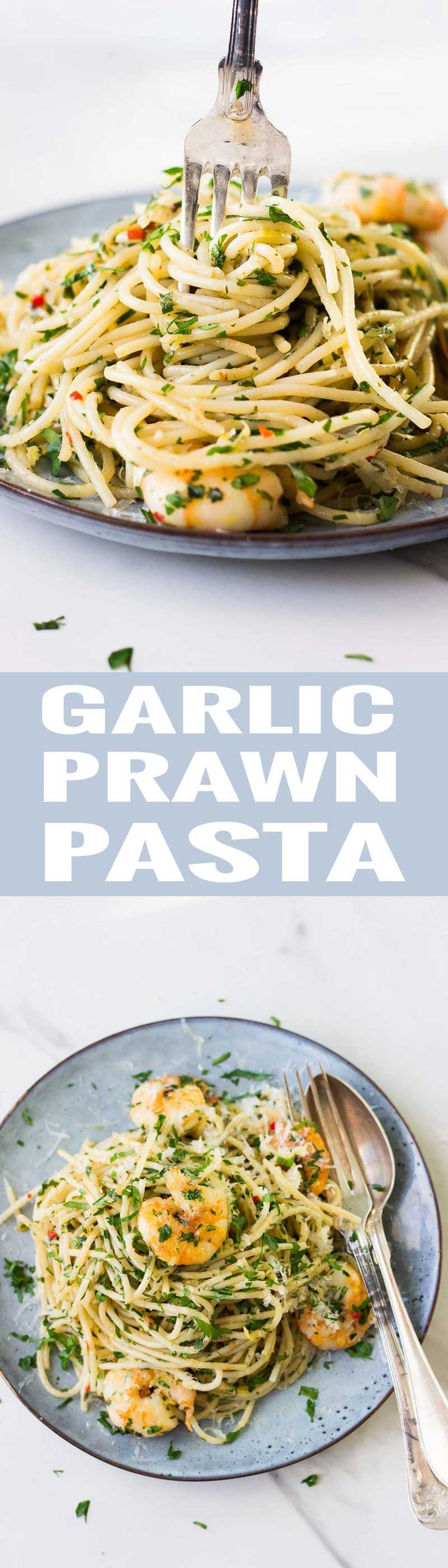 Garlic Prawn Pasta Recipe! Super easy to make and packed with flavour! Ready in less than 20 minutes! Can be both #glutenfree & #dairyfree  #garlic #prawn #pasta  via @nutrimeetschef