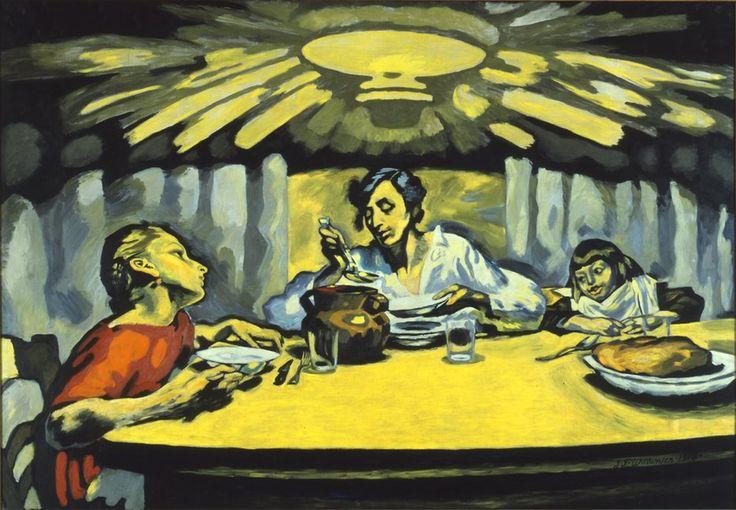 J.F. Willumsen, Aftensuppen, 1918, olie på lærred