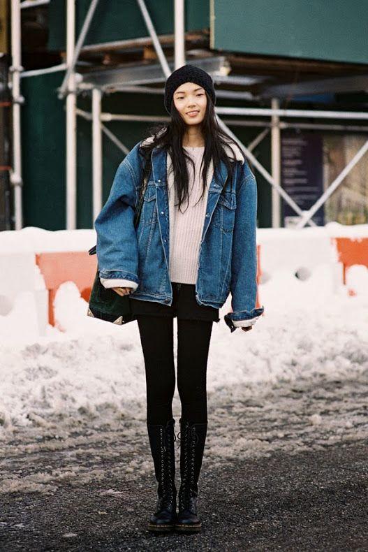oversized jacket // creamy knit // black tights // lace ups // NYFW AW 2013 // Xiao