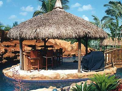 16u0027 Round Gazebo Style Tiki Hut With A Freestanding Custom Built Tiki Bar.  Backyard ...