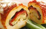 Chicken Mozzarella Roll-Ups. A substitute filling for picky non veg eaters could be cheese and pepperoni.