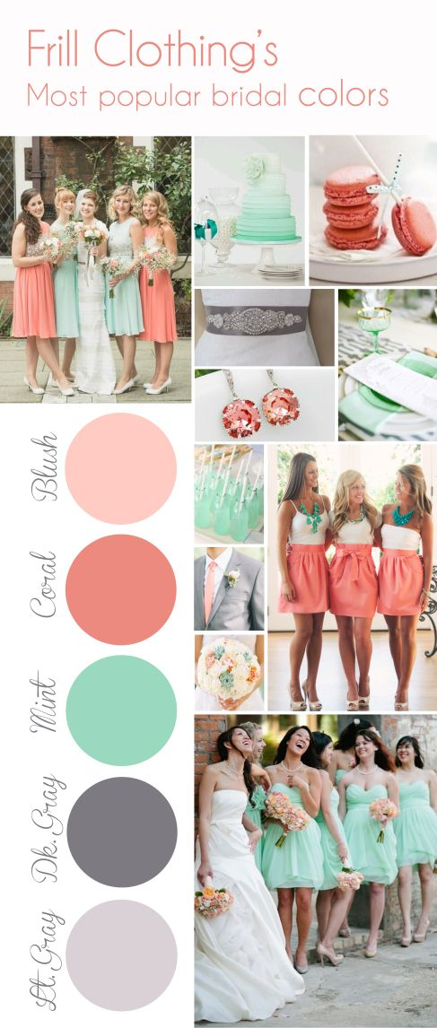 Frill Clothing's top colors for their bridesmaid skirts! | coral wedding | beach wedding | www.endorajewellery.etsy.com
